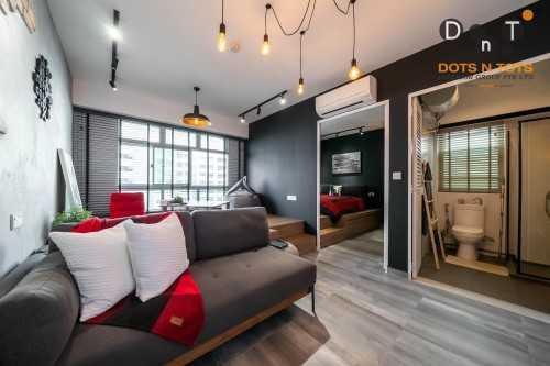 Industrial New Studio HDB by Dots 'N' Tots Interior Pte Ltd